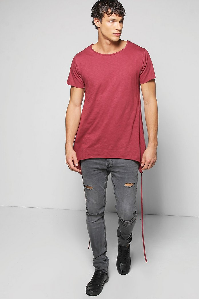 Raw Edge Slub T Shirt With Handkerchief Hem