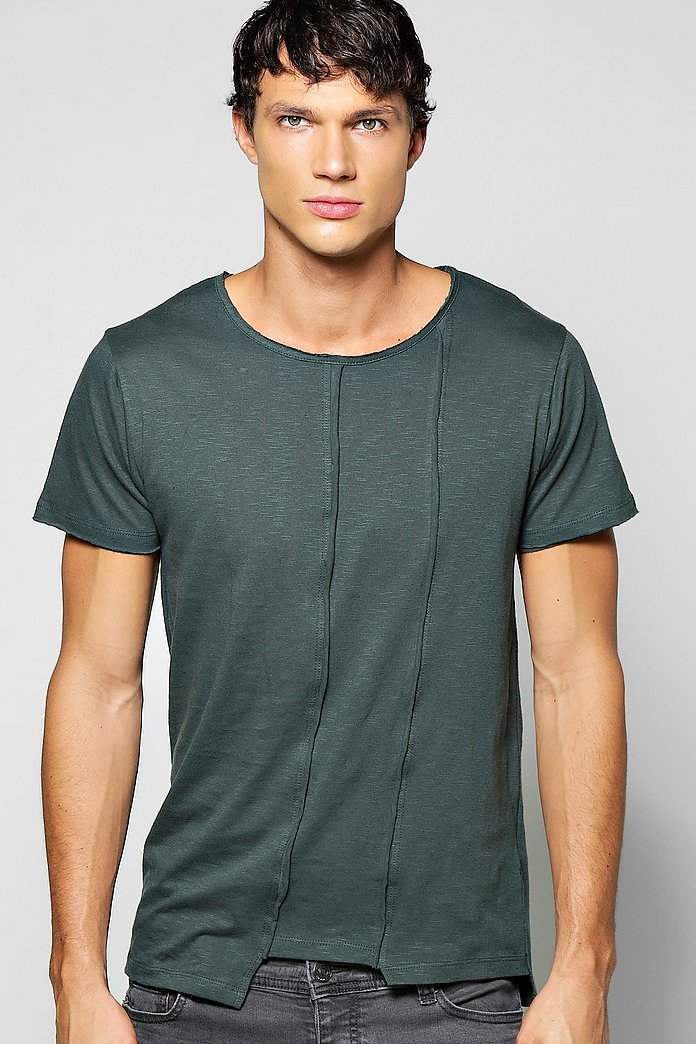 Asymmetric Slub Jersey T Shirt With Raw Edges