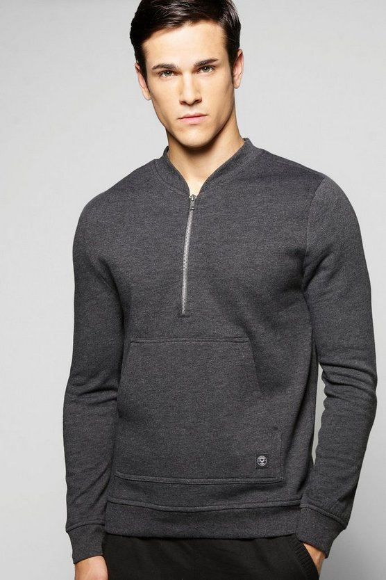 Bomber Neck Zip Sweatshirt