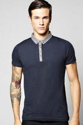 Short Sleeve Chambray Polo