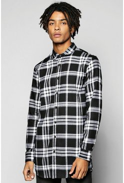 Long Line Check Shirt With Zip Detail