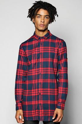 Quincy Long Line Check Shirt With Zip Detail