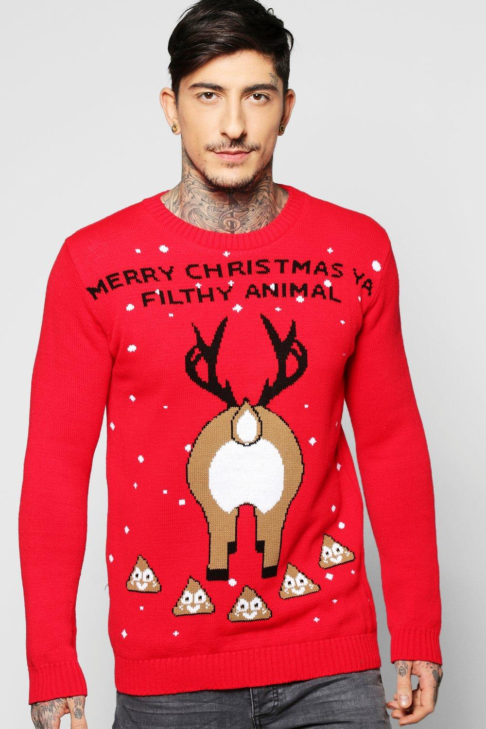 Filthy Animal Emoji Christmas Jumper