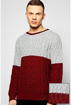 Contrast Cable Knit Crew Neck Jumper
