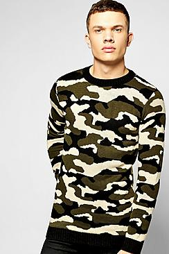 Crew Neck Knitted Camo Jumper
