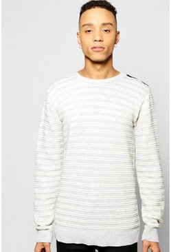 Mono Stripe Jumper With Insert Shoulder Zips