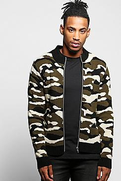 Camo Zip Through Knitted Bomber