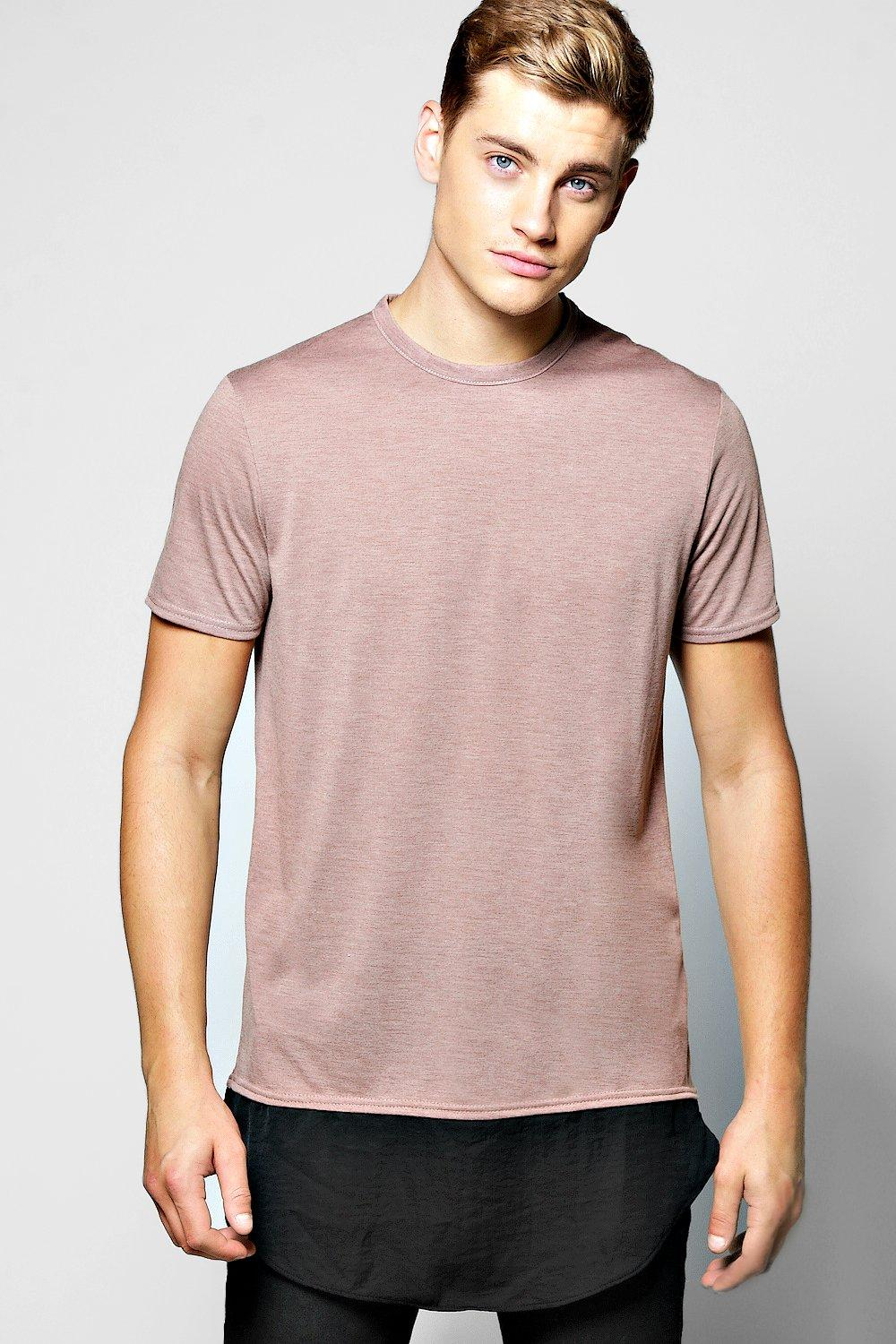 Longline Marl T Shirt With Fishtail Hem