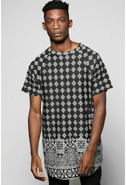 Longline Curved Hem Border Print T Shirt