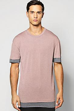 Oversized Marl T Shirt With Faux Hem