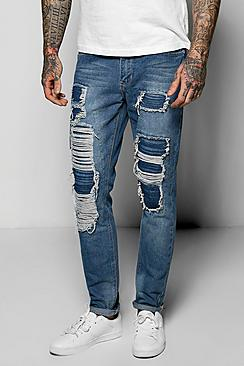 Skinny Fit Extreme Rip Jeans