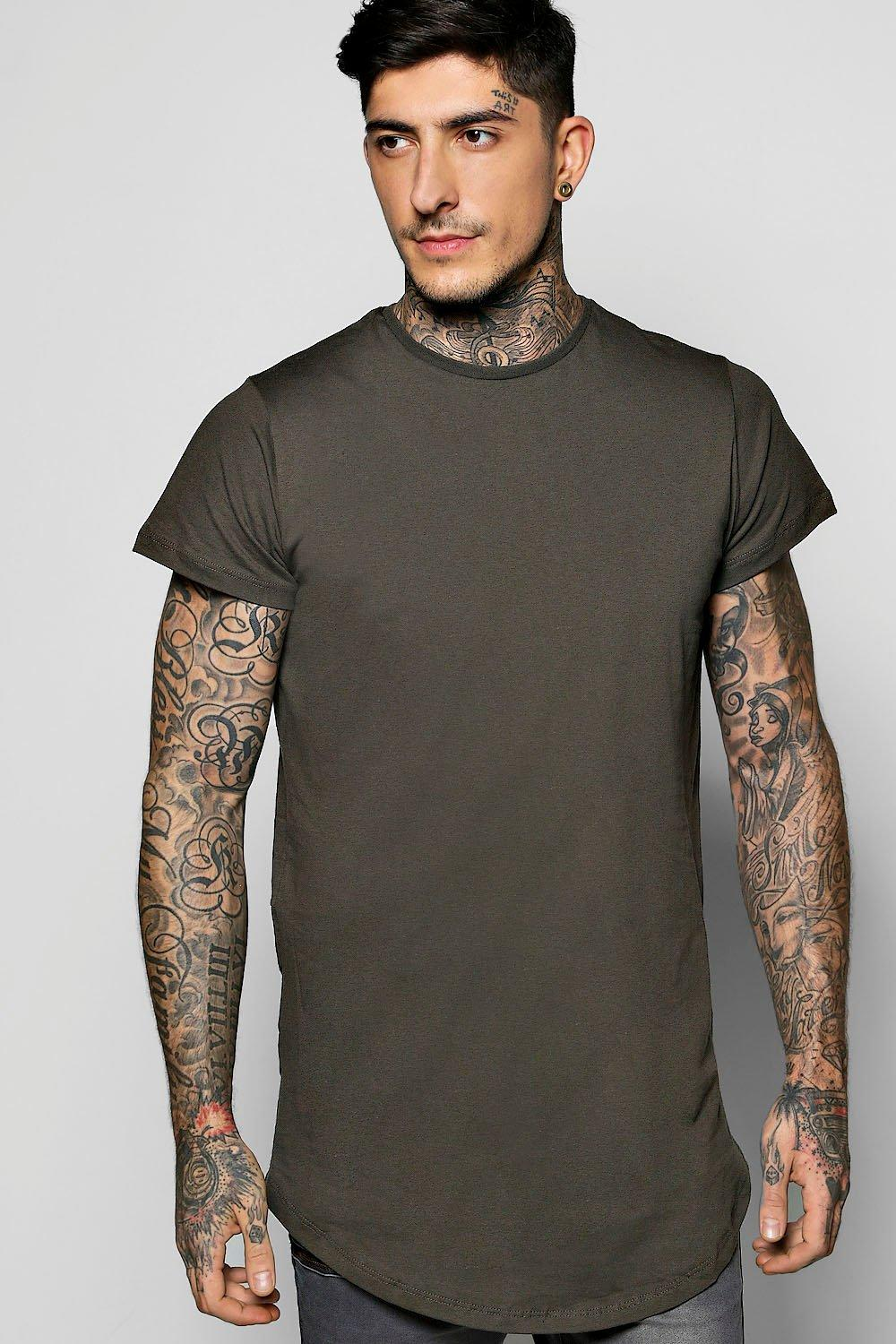 Longline Biker T Shirt With Faux Hem