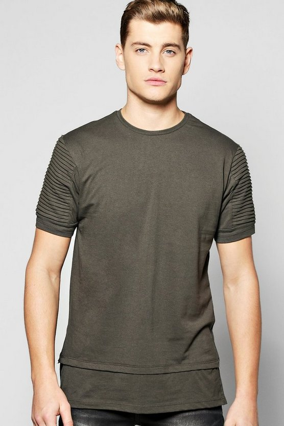 Longline T Shirt With Biker Pleated Sleeves