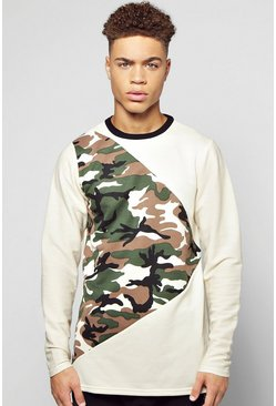 Longline Camo Spliced Sweatshirt With Textured Sleeves