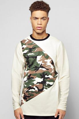 Longline Camo Spliced Sweater With Textured Sleeves
