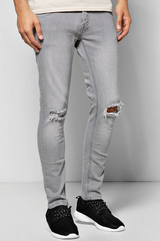 Skinny Fit Distressed Grey Jeans