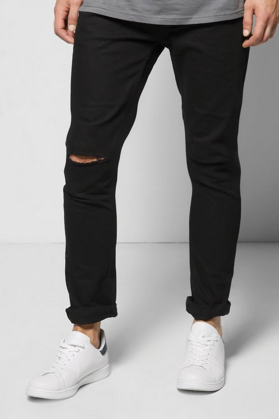 Skinny Fit Distressed Black Jeans