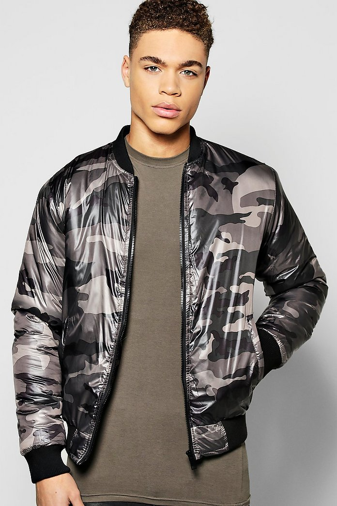 Diamond Quilted Padded Camo Bomber Jacket