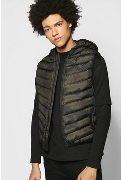 Hooded Camo Padded Gilet