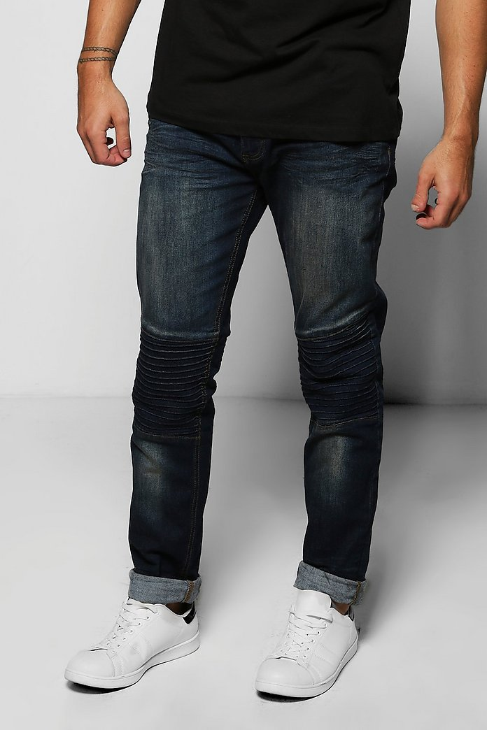 Slim Fit Biker Jean With Sandblasting