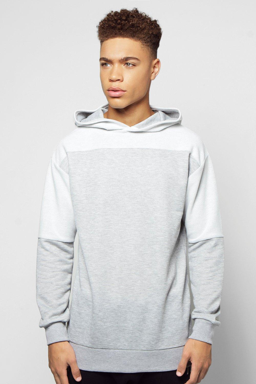 Longline Oversized Hoodie With Reverse Panels