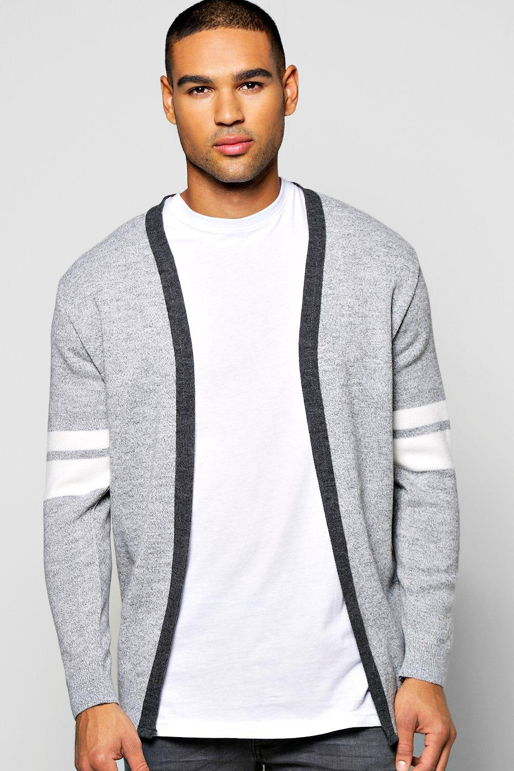 Edge To Edge Cardigan With Stripe Detail