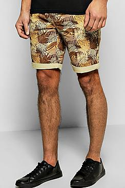 All Over Leaf Print Chino Short