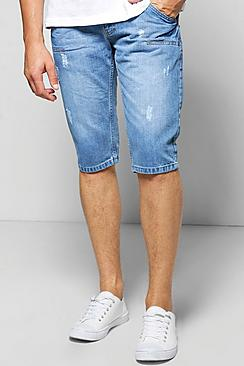 Midwash Distressed Denim Shorts