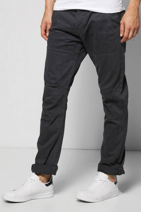 Slim Fit Panelled Twill Chinos