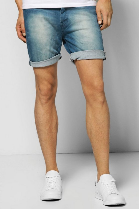 Washed Denim Turn Up Shorts