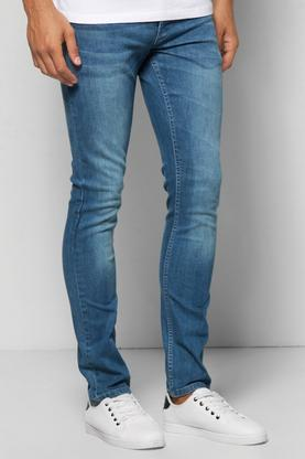 Slim Fit Sandblasted Blue Jeans