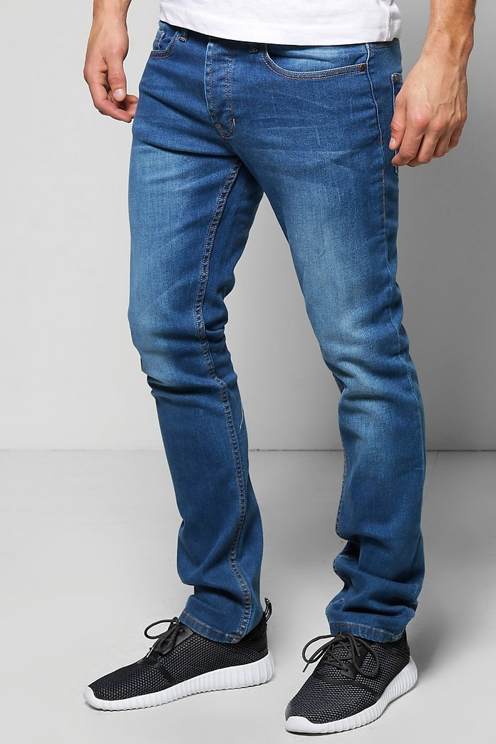 Slim Fit Dark Blue Washed Jeans