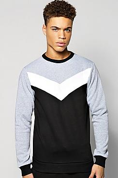 Chevron Panel Sweatshirt