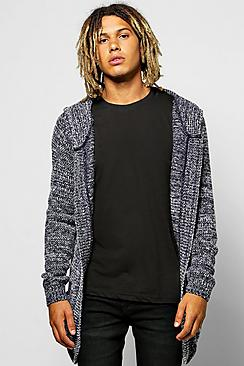 Brushed Longline Hooded Cardigan