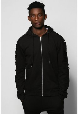 Biker Distressed Zip Through Hoodie