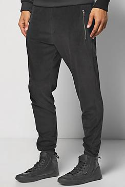 Skinny Fit Velour Joggers With Zip Pockets
