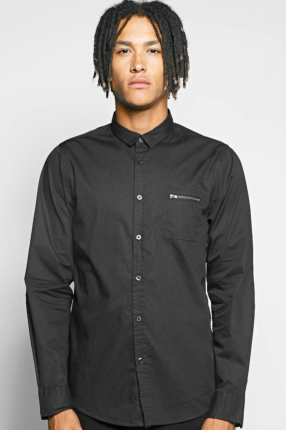 Long Sleeve Zip Pocket Shirt