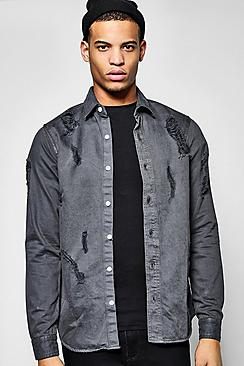 Destroyed Long Sleeve Denim Shirt
