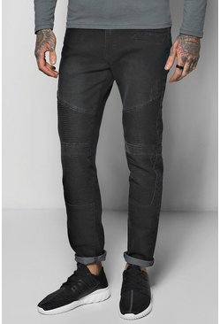 Skinny Biker Jeans With Stitch Detail