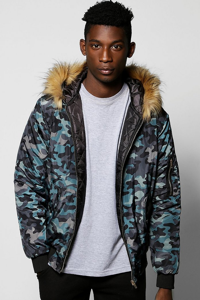 Faux Fur Hooded Camo Jacket
