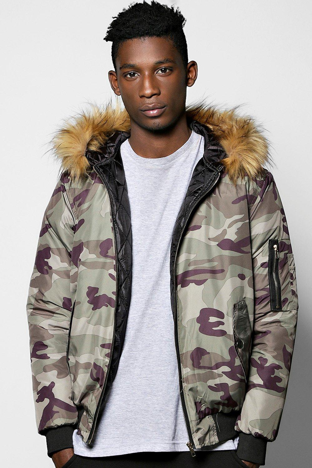 Camo Print Parka Jacket With Faux Fur Hood at boohoo.com