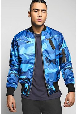 Quincy Blue Camo MA1 Padded Bomber