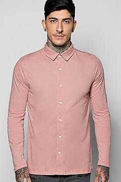 Camicia in jersey a manica lunga con bottoni