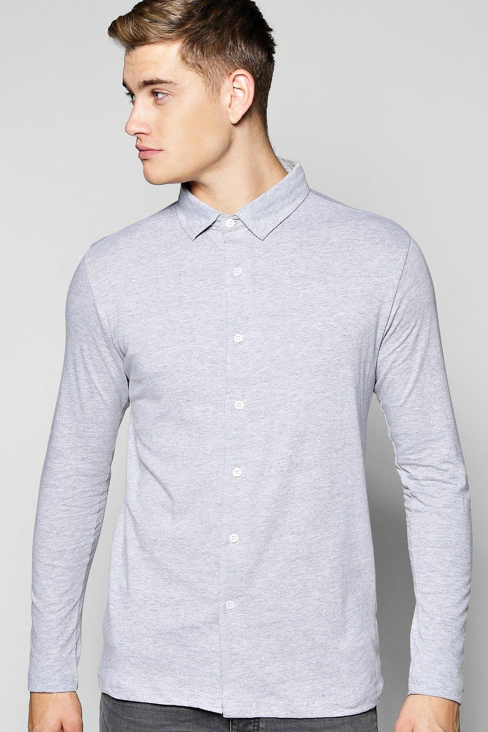 Button Through Long Sleeve Jersey Shirt