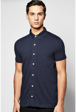 Short Sleeve Button Through Jersey Shirt