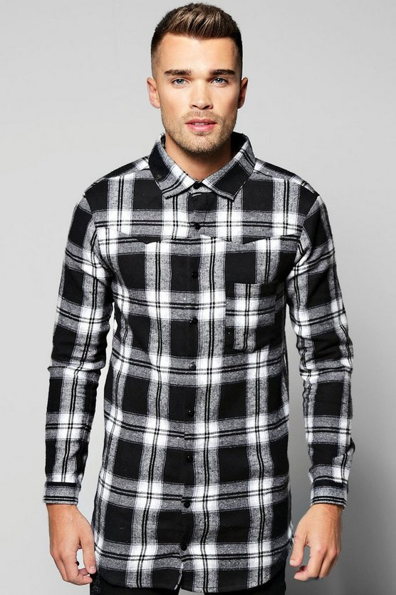 Long Sleeve Buffalo Longline Check Shirt