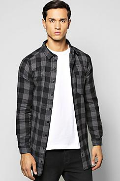 Long Sleeve Buffalo Check Longline Shirt