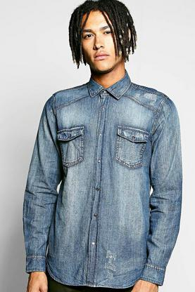 Long Sleeve Distressed Denim Shirt