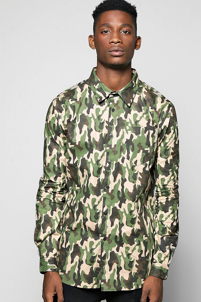 All Over Camo Print Shirt