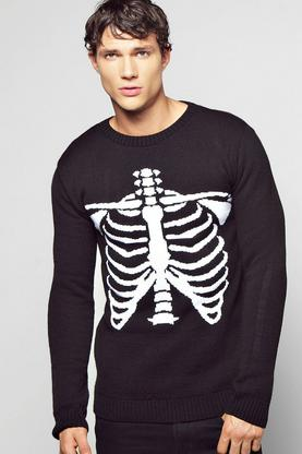 Halloween 'Skeleton' Slogan Sweater